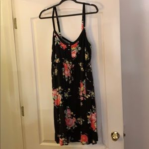 Floral draw string Henley tank dress